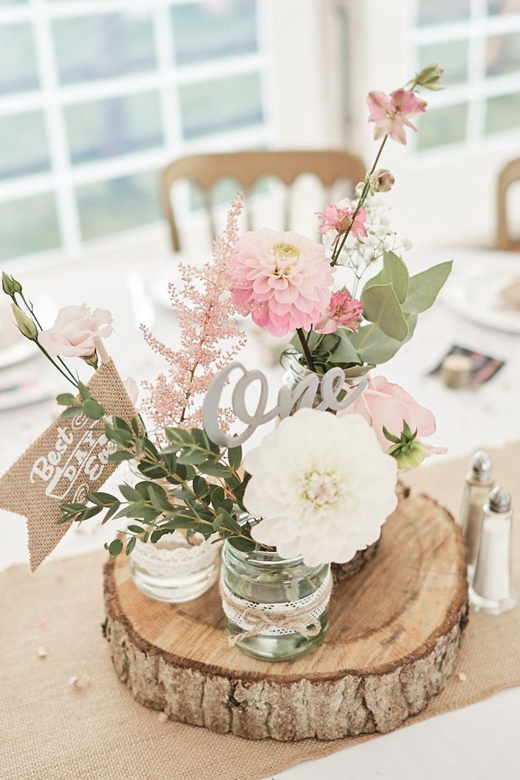 Table Center Pink Flowers Floral Eucalyptus Dahlia Wood Slice Laser Cut Name