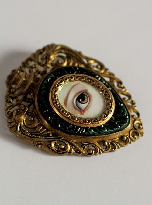 Victorian Mourning Brooch - Irish Lover's Eye - original painting by Mab Graves