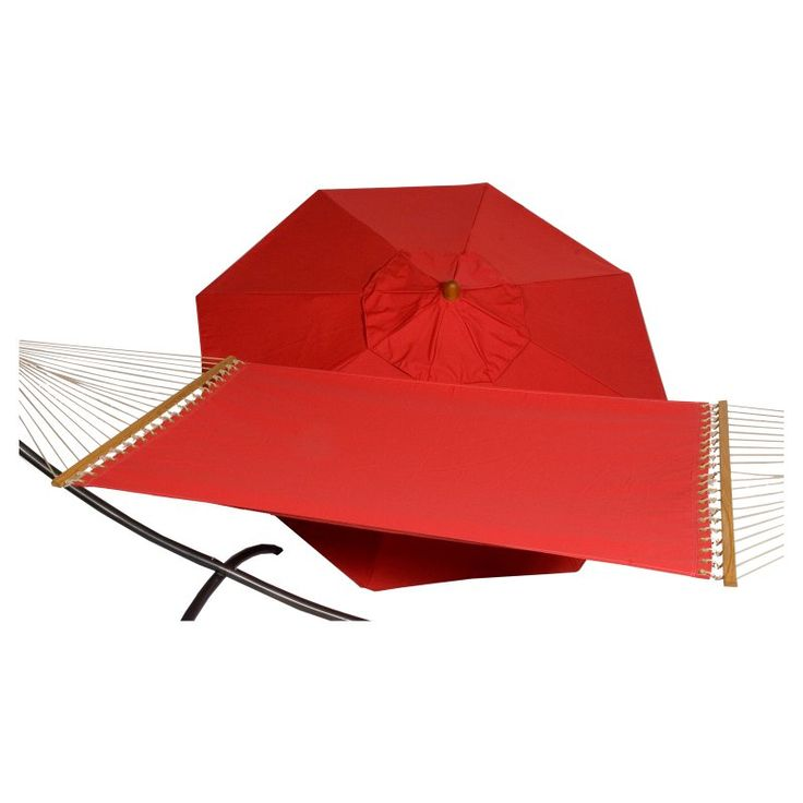 Phat Tommy Sunbrella Sling Hammock with 9 ft. Marenti Wood Market Umbrella Jockey Red - 330/350-COMBO.JOCKEYRED