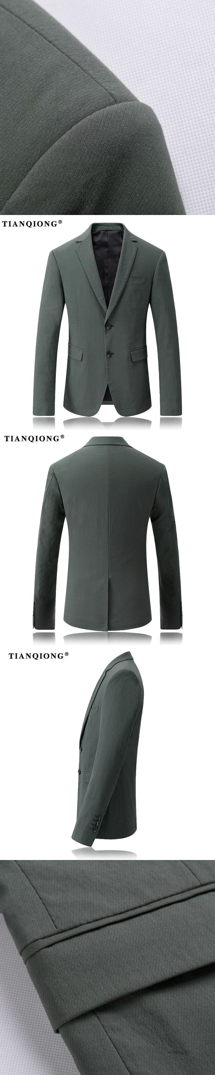 TIAN QIONG Hot Sale New Fashion Blazer Mens Casual Jacket Solid Dark-Green Color Men Blazer Jacket Classic Men Suit Jackets Coat