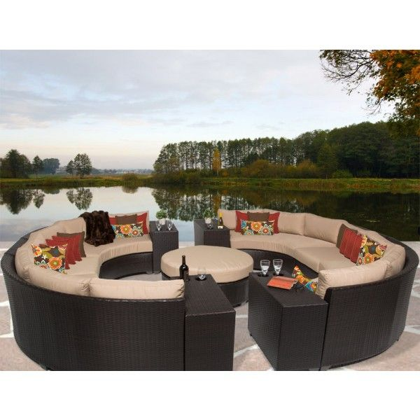 Tk Classics Barbados 11 Piece Outdoor Wicker Curved Sectional Set