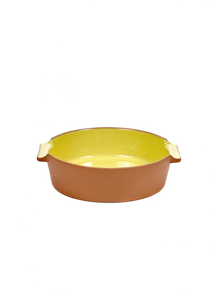 Jansen & Co My Terra Round Yellow Baking Dish: Jansen's vibrant and versatile terracotta bakeware is the latest edition to their lively collection. My Terra captures the perfect balance between design and choice materials giving this collection a distinct character.  The collection consists of a casserole, dishes, oven dishes and wine coolers. The clay is extracted from the clay pits of Portugal and manufactured by true craftsmen.