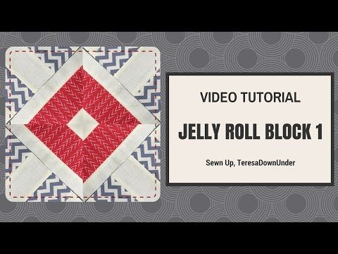 How to make this jelly roll block 1 Learn in just over 2 minutes: Block size 9 1/2 inches. Materials For the first rectangle: – 2 white 1 1/4 x 17 inch fabric strips – 2 grey 2 1/2 x 17…