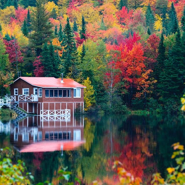 A quiet retreat surrounded by the dazzling Autumnal colours in Quebec