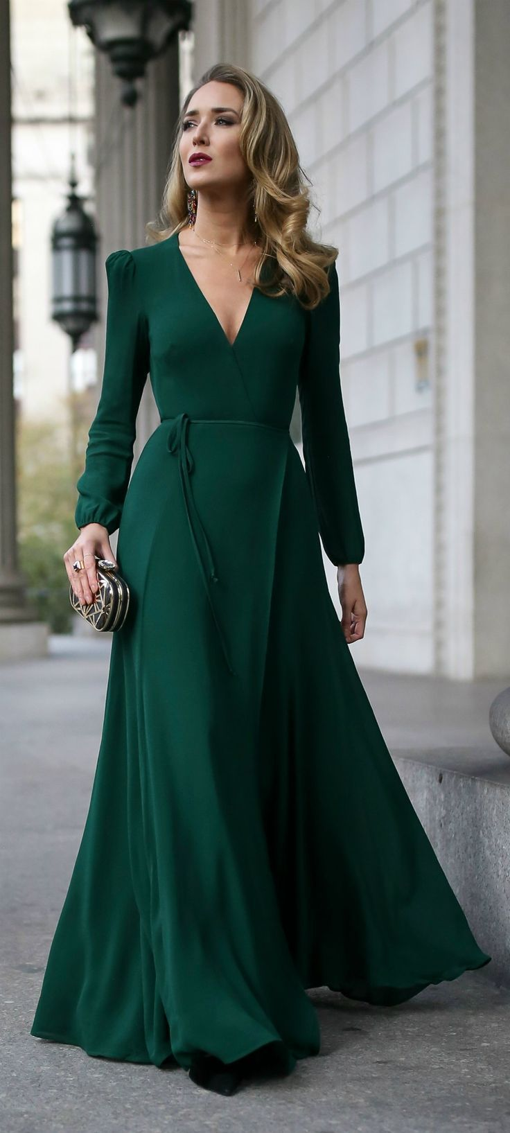 Click for outfit details! // Emerald green long-sleeve floor-length wrap dress, …