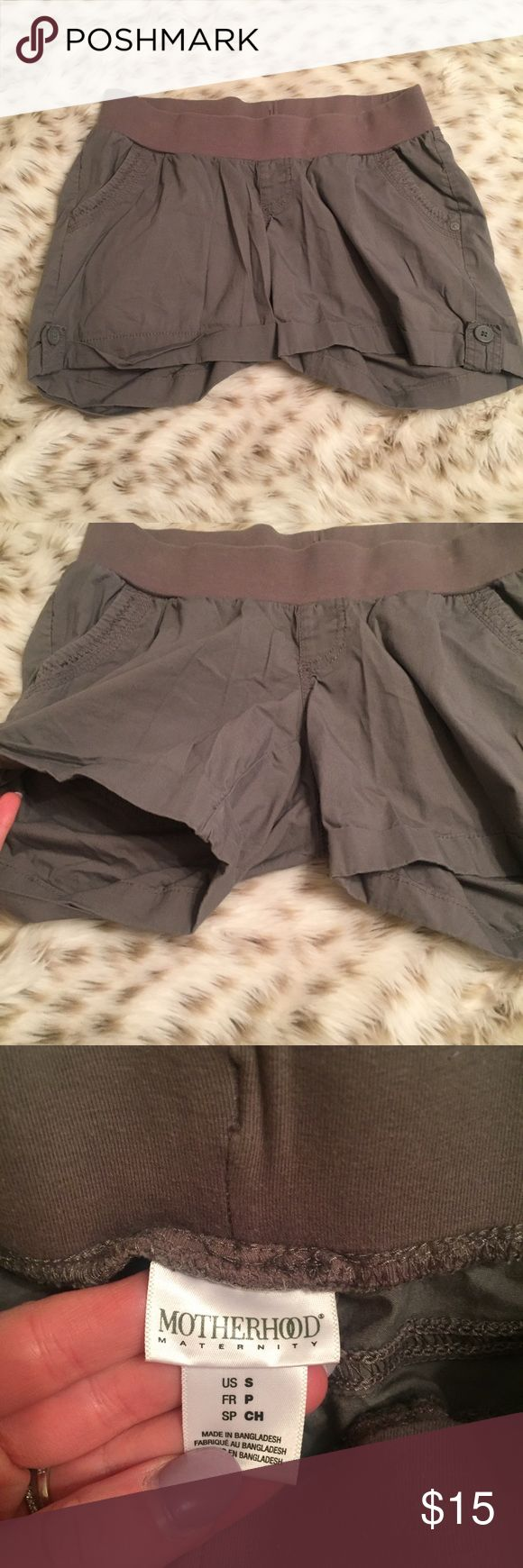 Motherhood Maternity Gray Shorts Motherhood maternity gray shorts! Size small! Has small stretchy band at the waist! Super cute and comfy! In excellent used condition! Motherhood Maternity Shorts