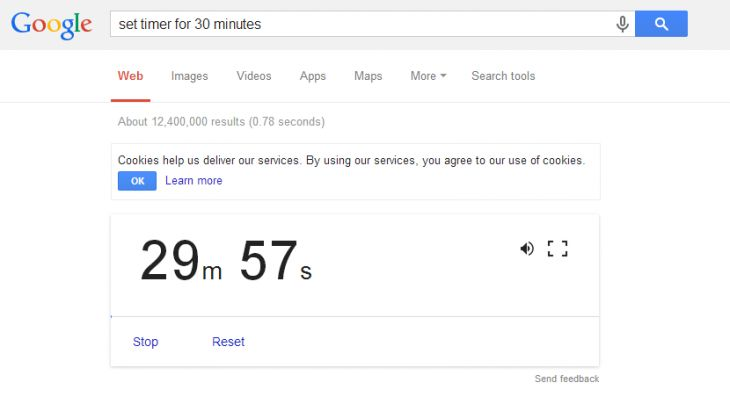 Countdown Timer Returns to Google Search on the Desktop