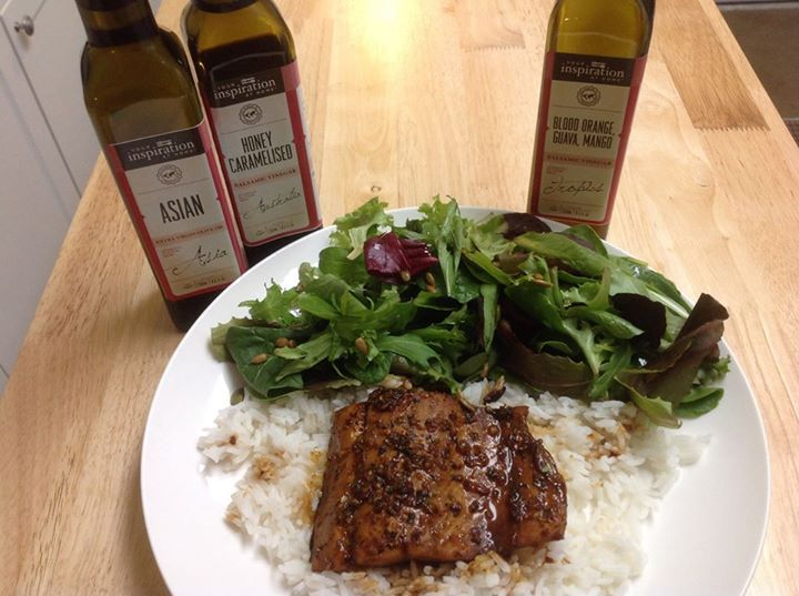 Last night salmon fillets marinaded in (for 2) 2 tbsp of YIAH Honey Caramelized Balsamic Vinegar, 2 tbsp of YIAH Extra Virgin Asian Olive Oil, 1 tsp. sesame oil, 2 tsp of YIAH Pacific Potlatch spice blend and 2 cloves of minced garlic. Marinaded for 2 hours. Then baked at 400 F on parchment lined pan with any remaining marinade. Served on jasmine rice and green salad drizzled with YIAH Blood Orange, Guava, Mango Balsamic Vinegar. Very yummy!