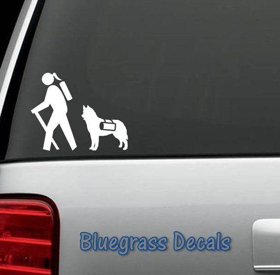 A1145 Hiking Hiker Girl w/ Husky Dog Decal Sticker for Car