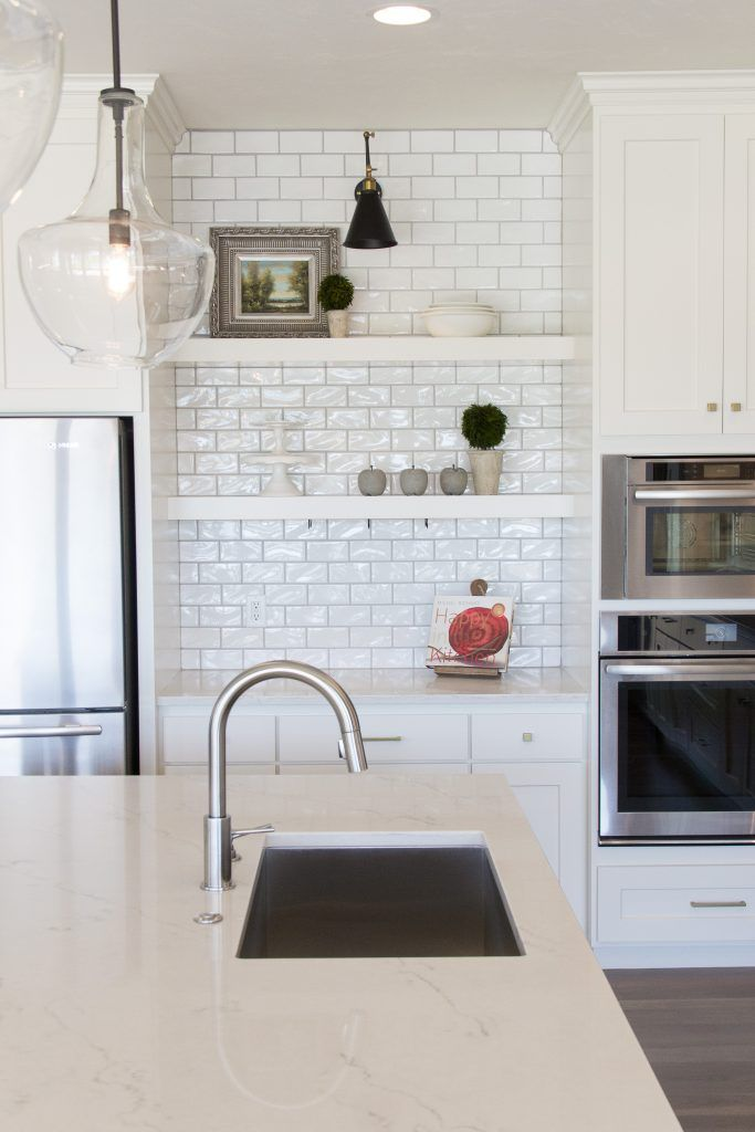 Kitchen Backsplash Highland Park Whisper White 3x6 Subway Tile