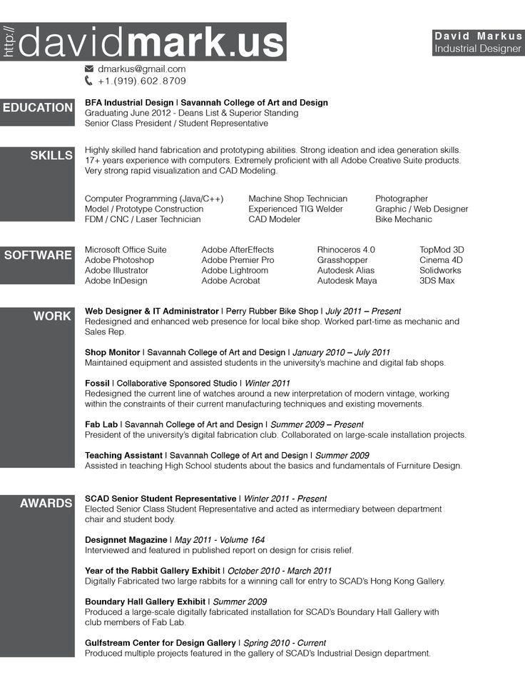 69 best resum examples images on pinterest design resume cv industrial design resume