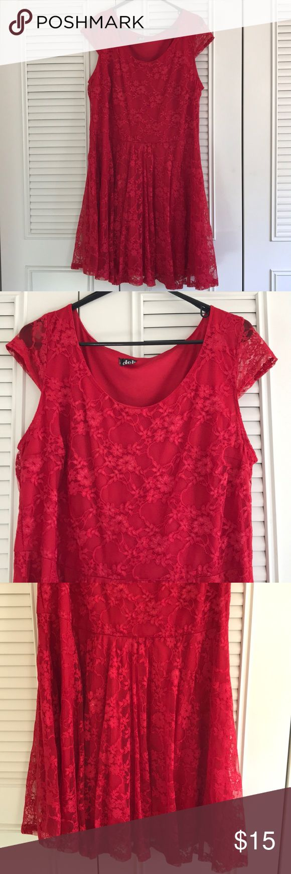 Red lace Deb Shops skater dress Size 2x bought for a photo shoot with my husband. Only worn that one time. Red skater dress with lace over lay. Capped sleeves. Very light and comfortable Deb Dresses Asymmetrical