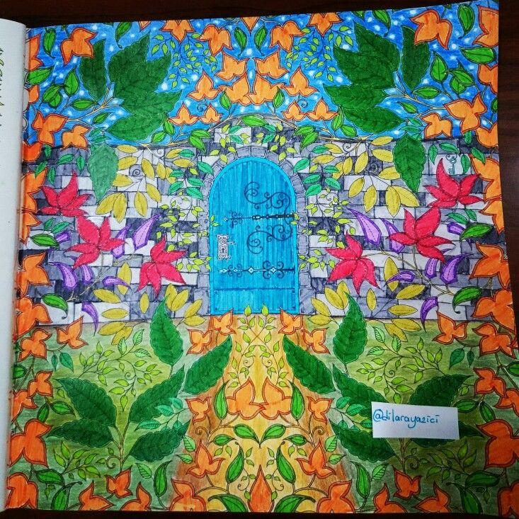 Johanna Basford Secret Garden Esrarengiz bahçe boyama kitabı kapı. Monami 36 lı kuru boya Faber Castell fun bucket
