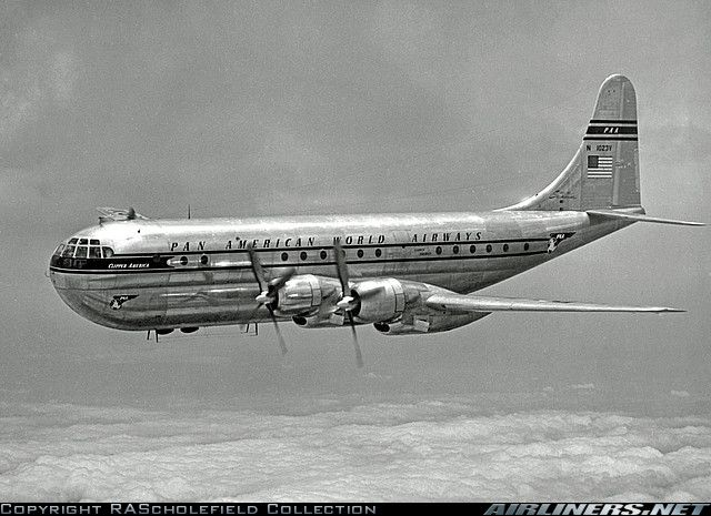 "➳Pan American World Airways B-377 Stratocruiser ""Clipper America"" was the second Stratocruiser for PAA, first flying on 17 April 1948. Damaged beyond repair in a wheels up landing at Manila 2 June 1958."
