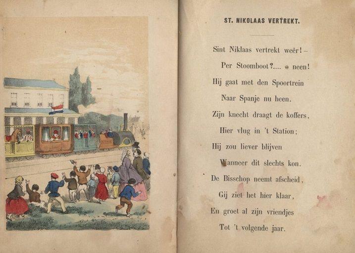 Na zijn bezoek vertrekt Sint Nikolaas te paard per luchtballon. In een latere uitgave door Bom zijn  de prenten opnieuw getekend en vertrekt Sinterklaas per