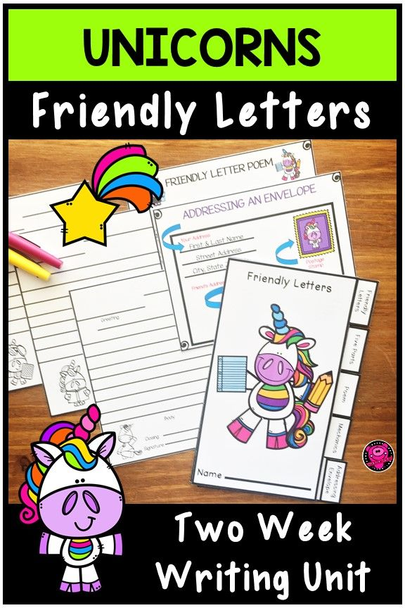 Friendly Letters Unicorn Themed Writing Activities Two