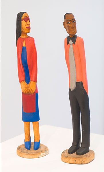 Collen Maswanganyi  Looking for love, 2012 Corkwood and acrylic (46 x 6cm)