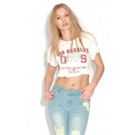 LA White Crop Top  This casual top is great for rocking the Varsity trend  ♥ White 'los angeles' elasticated waist crop top ♥ 100% polyester
