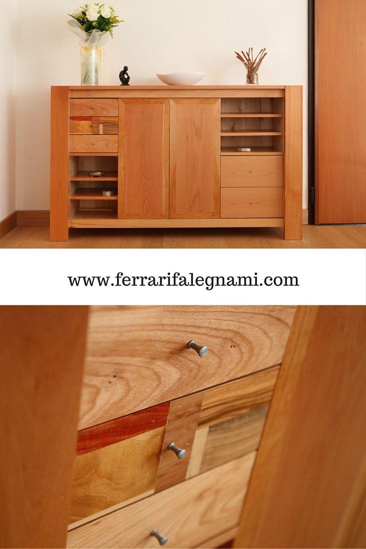 Credenza in legno massello di faggio, ciliegio e cassetto #patchwood  Misure: 170x45 di profondità, h 105 € 2.800 #interior #design