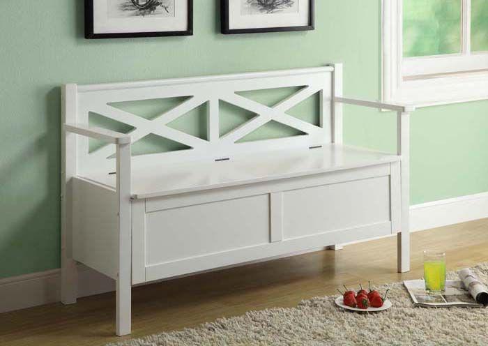 Banc fait de bois massif blanc / White solid wood bench