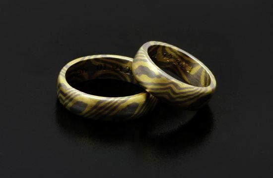 Mokume gane ringsyellow gold and palladium #wedding #Bielak #Poland