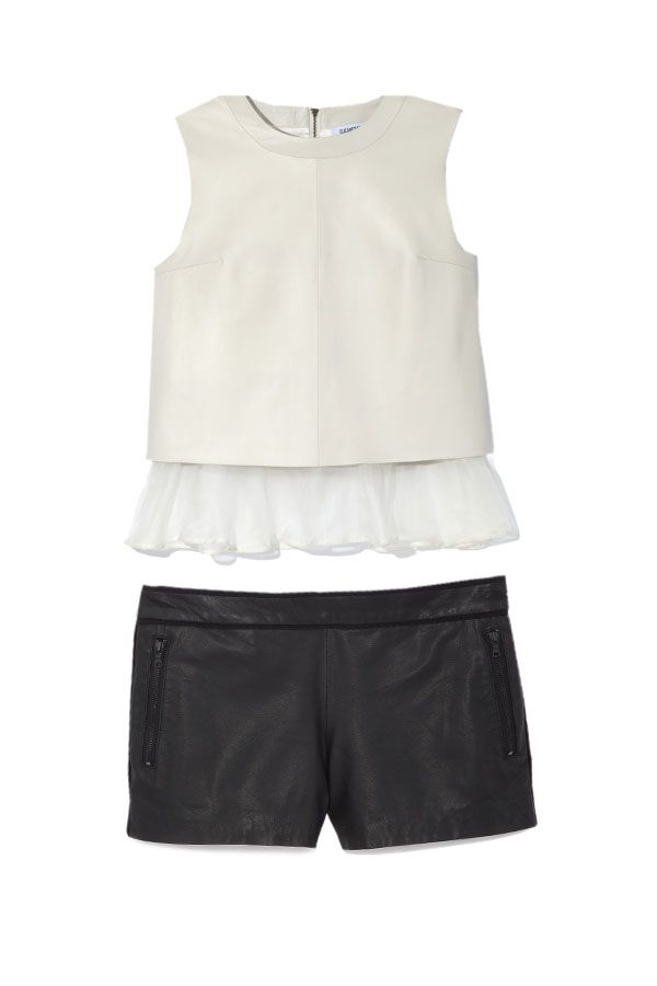 Can't get enough of this leather top with the romantic ruffle from Elizabeth and James!