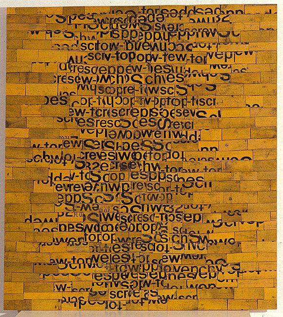 Rosalie Gascoigne - Beaten Track, 1992 - sawn / split soft drink crates on plywood - 122.5 × 110cm