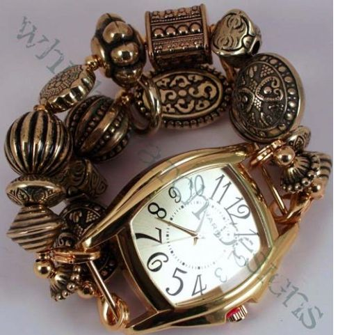 The band of gold plated beads can also be a watch band with your choice of watch faces! Only $30 for both!
