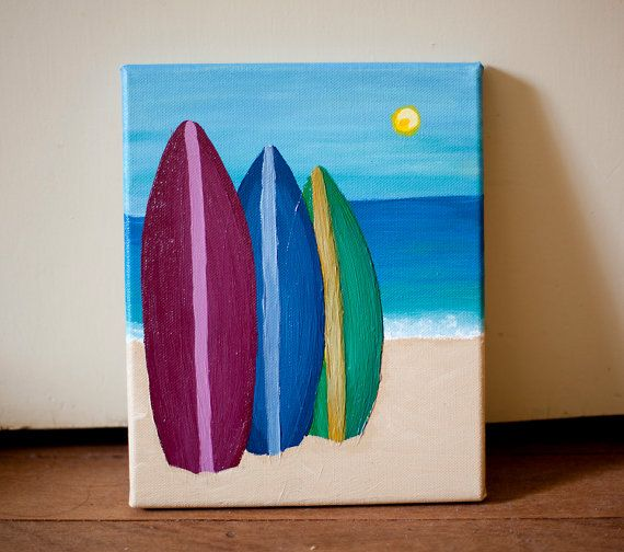 Surfboards on the beach (summer painting, Surfers Paradise). $30.00, via Etsy.