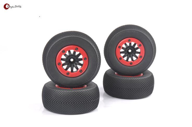 4 PCS/Set  RC Toy Parts  1/10 Short Course Truck Tires Set Tyre For TRAXXAS SlASH HPI Remote Control Toy Car Model  #Affiliate