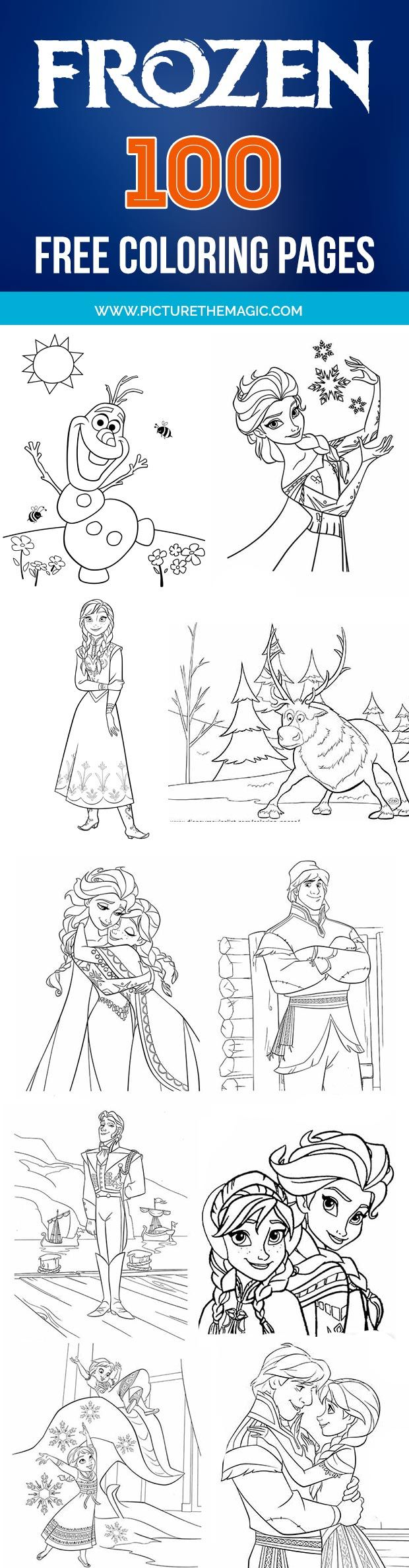 Download more than 100 free Frozen coloring pages!