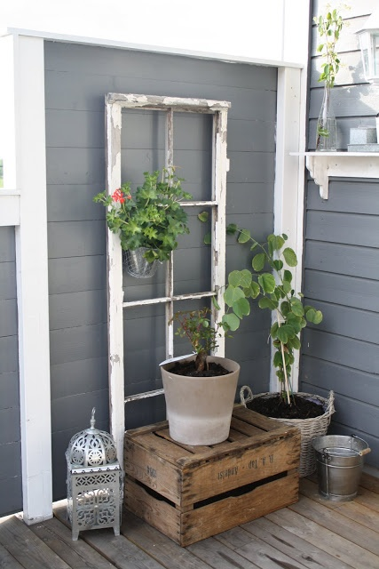 old window, crate & lantern