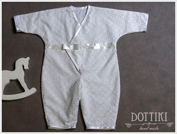 Boys Christening Romper  Baptism Romper  Baby Boy by DOTTIKI