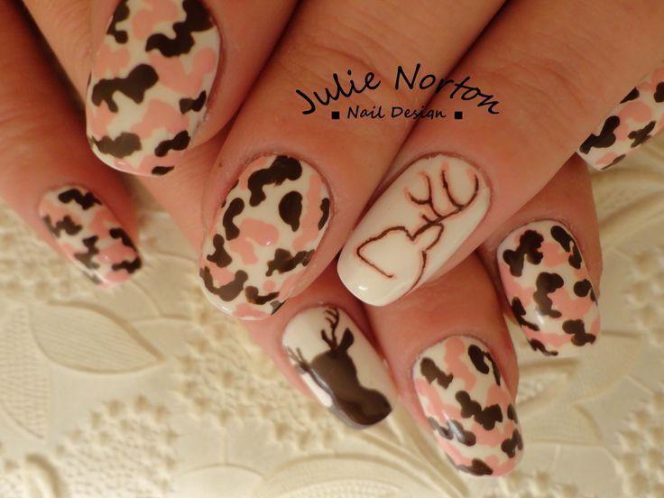 Pink Browning Camo Nails