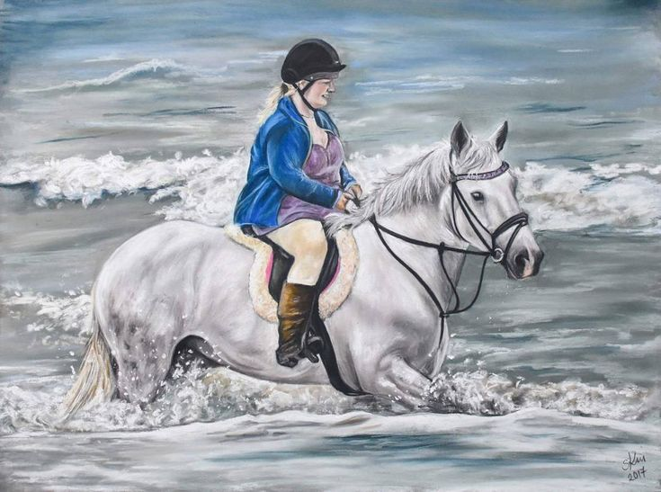 """""""Mi piace"""": 36, commenti: 3 - Sarah King (@sarah_king_art) su Instagram: """"Lizi and Ginny riding the waves.. soft pastel  commissions open Feb /march 2018 www.sarah-king-…"""""""