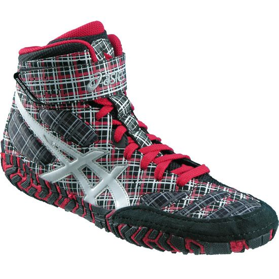 Plaid is always in! Get these Asics Aggressor 2 Limited Edition Plaid Wrestling Shoes
