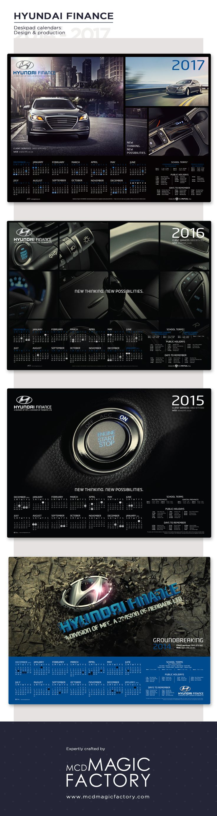 Client: Hyundai Finance | Year: 2014 - 2017 | Design and production of desk pad calendars for dealers.