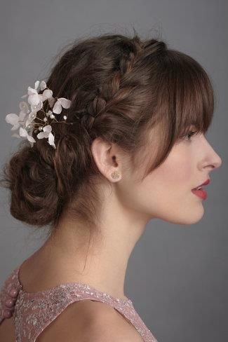 Best 25 wedding hair bangs ideas on pinterest wedding hair bangs braid bun pmusecretfo Images