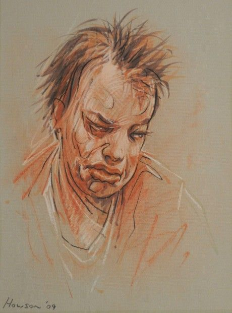 Peter Howson Jade 6. Charcoal and Red Conte Crayon | Scottish Contemporary Art
