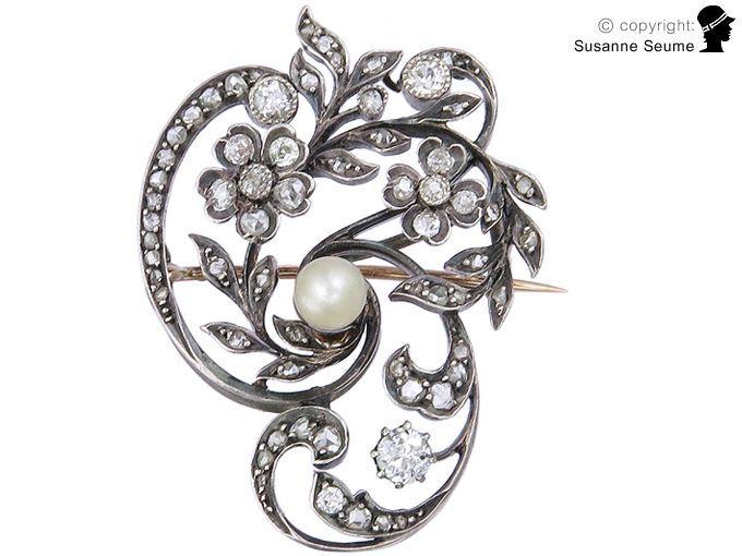 Antike Diamant Brosche 750 gold