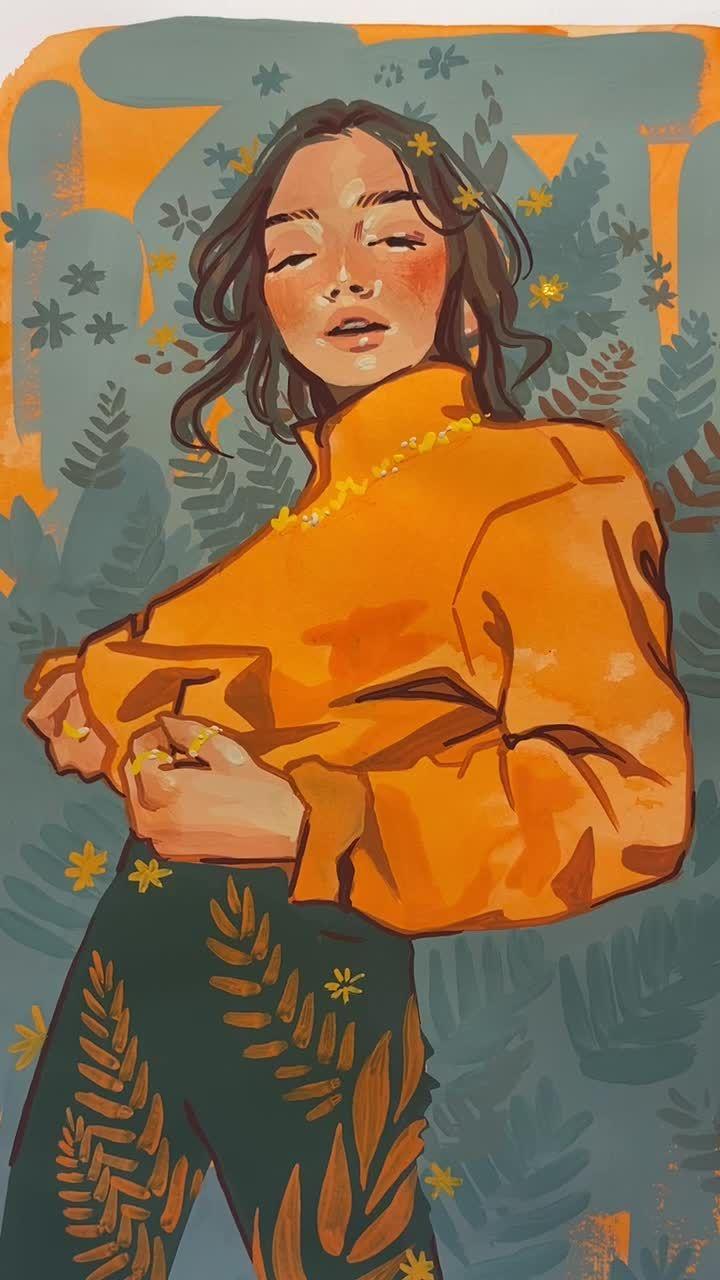 Amina Aminaillustration On Tiktok In Love With This Pose Zoifishh Art Artist Artistsoftiktok Gouache Art Art Art Painting