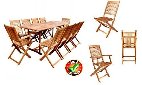 Wooden Garden Furniture Set 10Seater Dining Set Large Patio Table FoldingChairs  #VXL