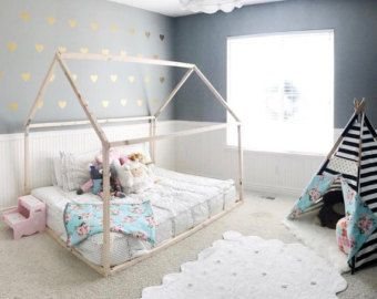 Toddler House Bed - FULL Size, Made in the USA, Wood Bed, Full bed frame, home, wooden, natural wood, modern, floor bed, full mattress