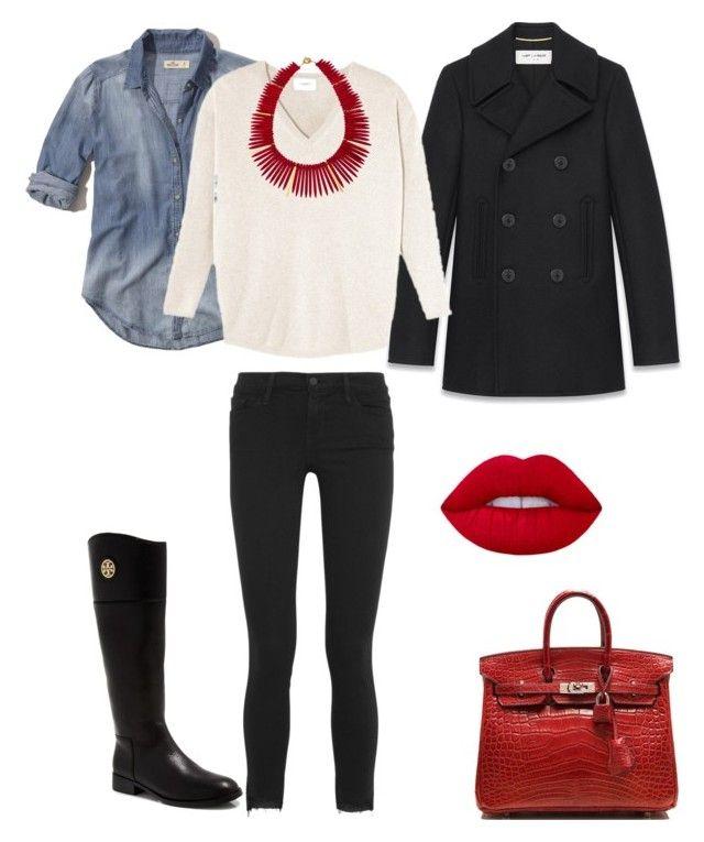 """Bottes cavalières et skinny noir"" by onemumshow on Polyvore featuring mode, Tory Burch, Frame, Yves Saint Laurent, Hollister Co., Janna Conner Designs et Hermès"
