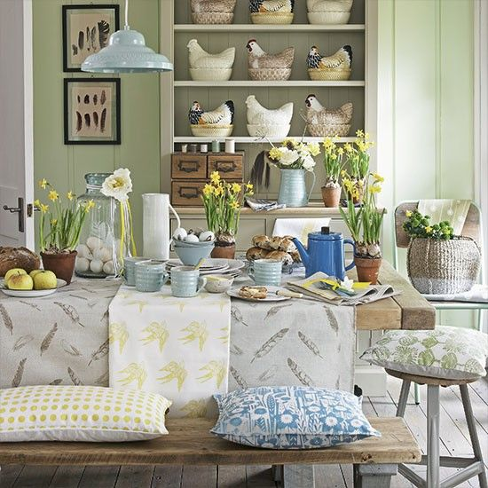 Line a dresser with nesting hen ceramics and mix tactile pieces in duck-egg blue for a relaxed start to the day
