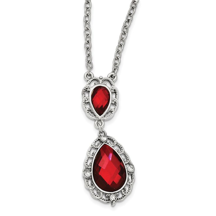 Silver-tone Red and White Crystal Fancy w/3in ext.Necklace BF2585