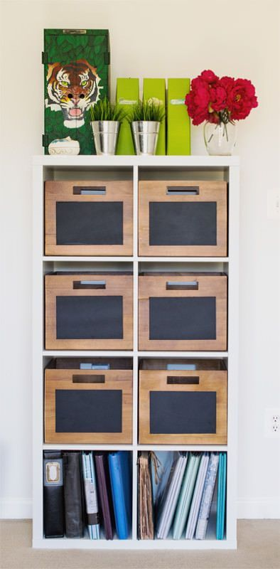 These chalkboard storage bins fit perfectly in an Ikea Kallax Bookshelf. Eclectic and fun way to store office supplies or kids toys.