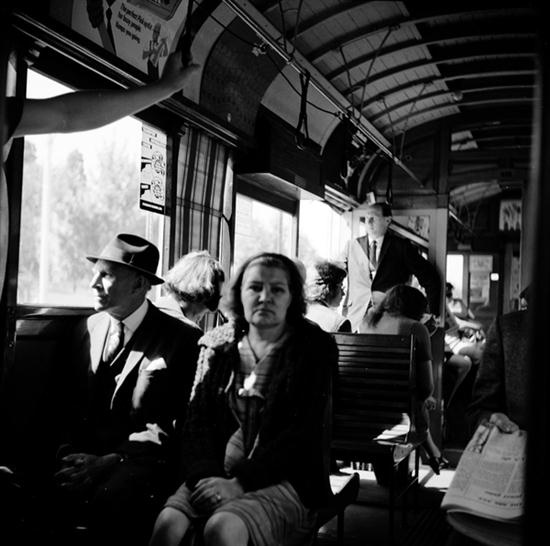 Sale LJ5777 - The Angus O'Callaghan Photographic Auction 02 May 2013 18:30 South Yarra Lot 21 ANGUS O'CALLAGHAN (BORN 1922)  The Commuters  archival print on rag paper 1/15  signed lower left  editioned lower right  60 x 60cm  Estimate $800-1,200 #photography #Melbourne #vintage #blackandwhite