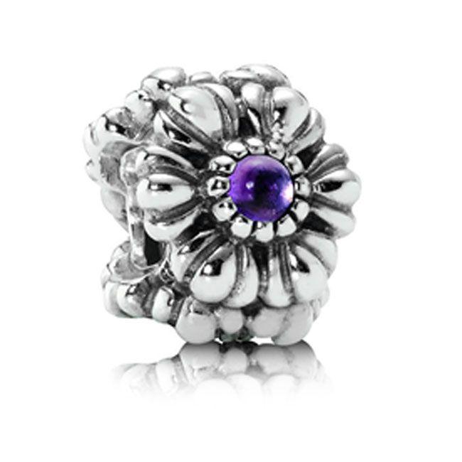 Pandora Birthday Charms | ... > Pandora Birthday Bloom February with Amethyst Charm (337210