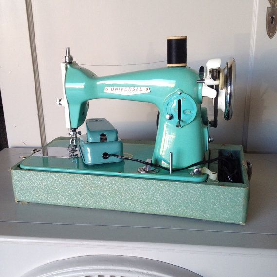 Vintage Turquoise Sewing Machine Precision Sewing Machine with Case and Accessories Box 1950s Mid Century